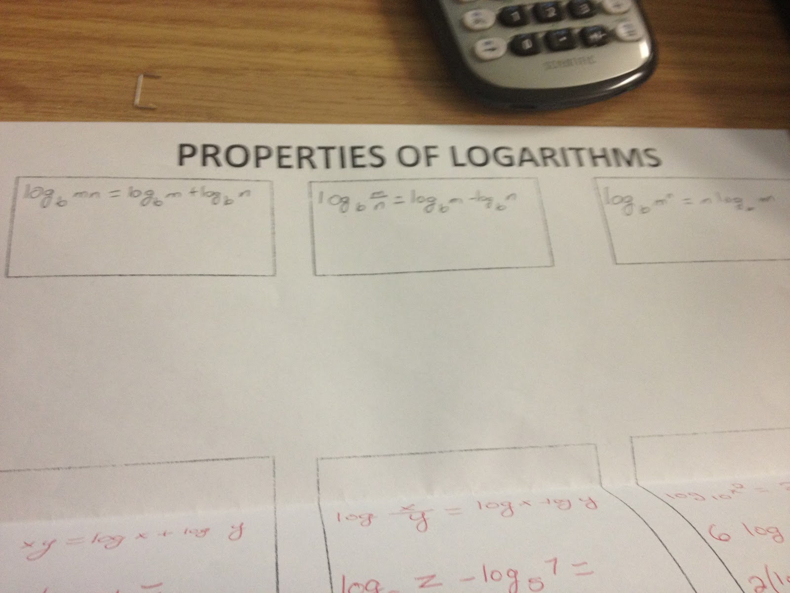 Myfavfriday Properties Of Logarithms Foldable